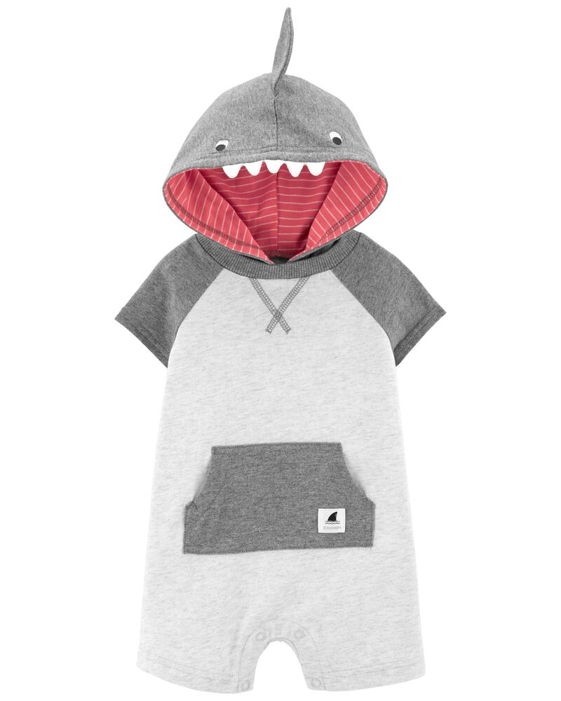 Hooded Shark Romper, , hi-res