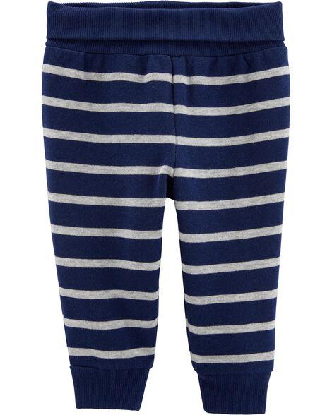 Pantalon à enfiler rayé doublé de molleton
