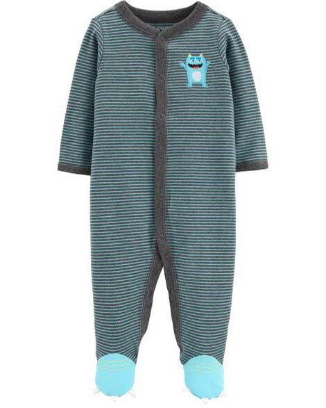 Grenouillère en coton pour dormir et jouer avec boutons-pression et motif de monstre