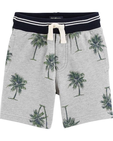 Ribbed Palm Tree French Terry Shorts