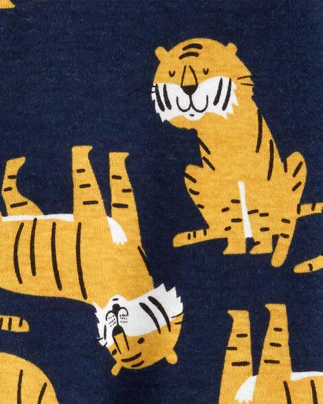 Pyjama 1 pièce à pieds en coton ajusté motif tigre