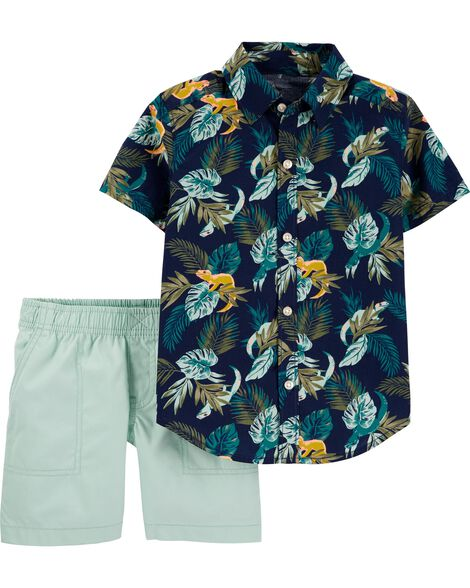 2-Piece Tropical Button-Front & Poplin Short Set