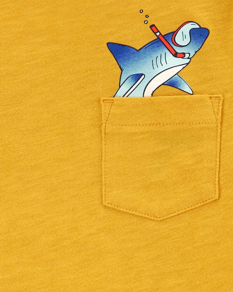 T-shirt avec poche et imprimé requin , , hi-res