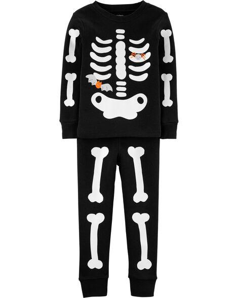 Pyjama 2 pièces en coton ajusté squelette