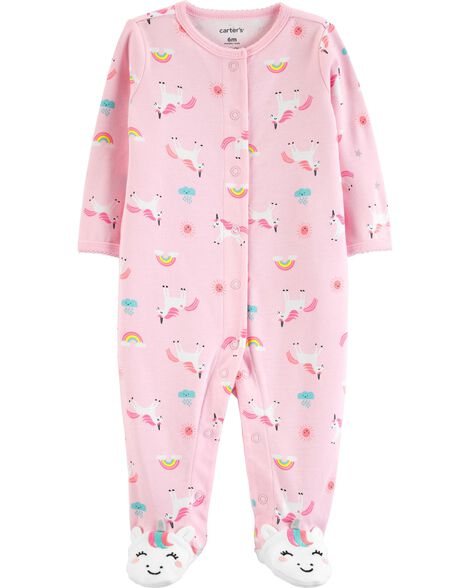 Unicorn Snap-Up Cotton Sleep & Play