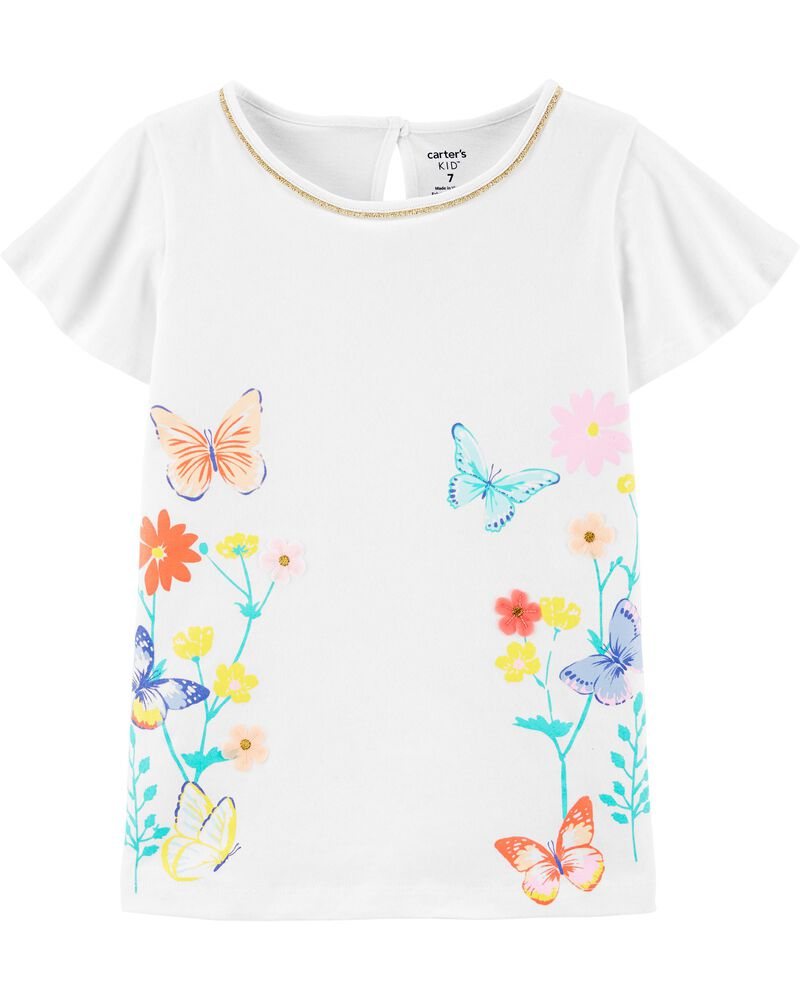 Floral Butterfly Tulip Jersey Tee, , hi-res