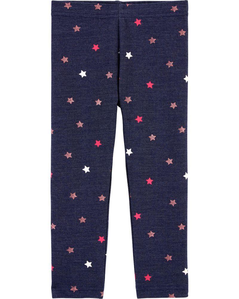 Legging en tricot de denim à étoile, , hi-res