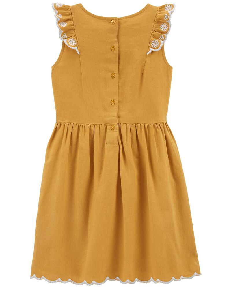 Ruffle Linen Dress, , hi-res