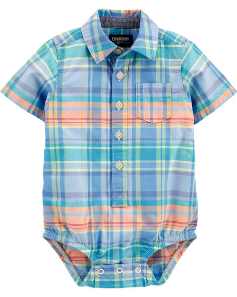 Chemise boutonnée à manches courtes et motif écossais