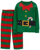 2-Piece Holiday Elf 100% Snug Fit Cotton & Fleece PJs, , hi-res