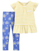 2-Piece Daisy Jersey Tee & Legging Set, , hi-res
