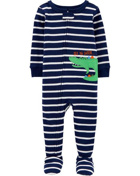 1-Piece Alligator Snug Fit Cotton Footie PJs