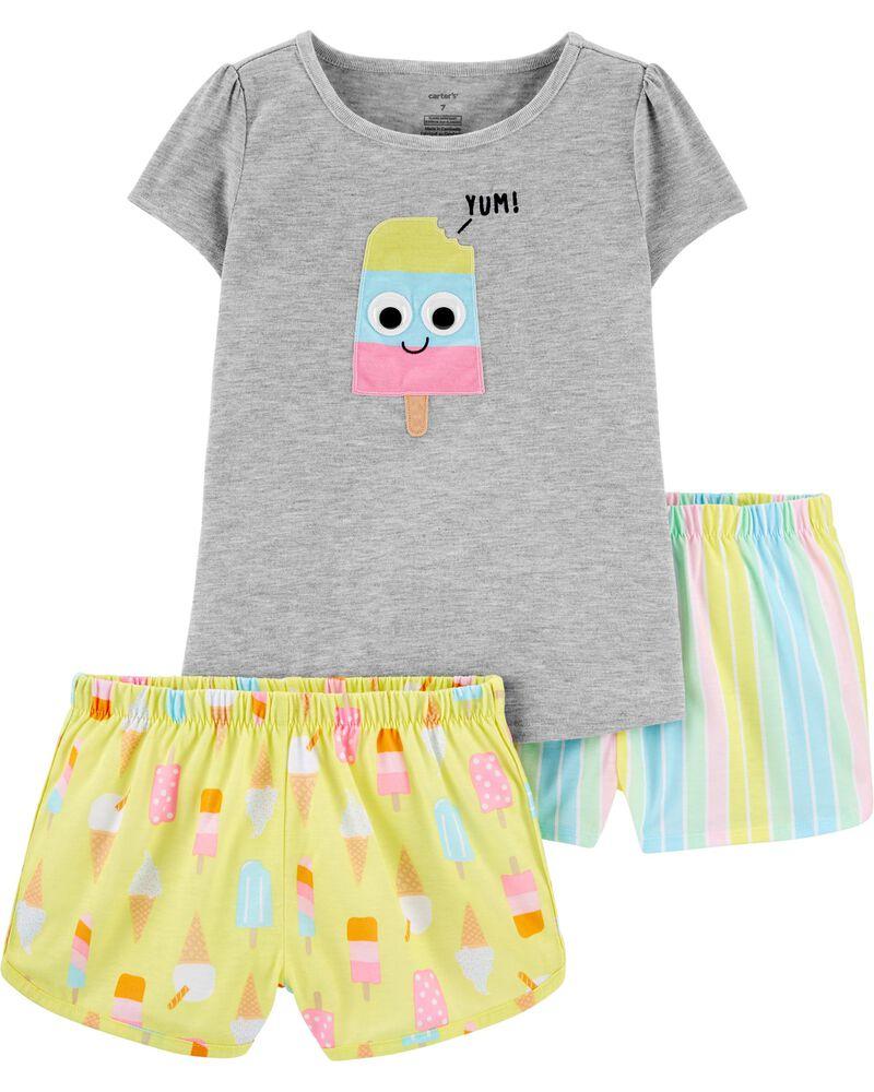 Pyjama 3 pièces en polyester à crème glacée, , hi-res