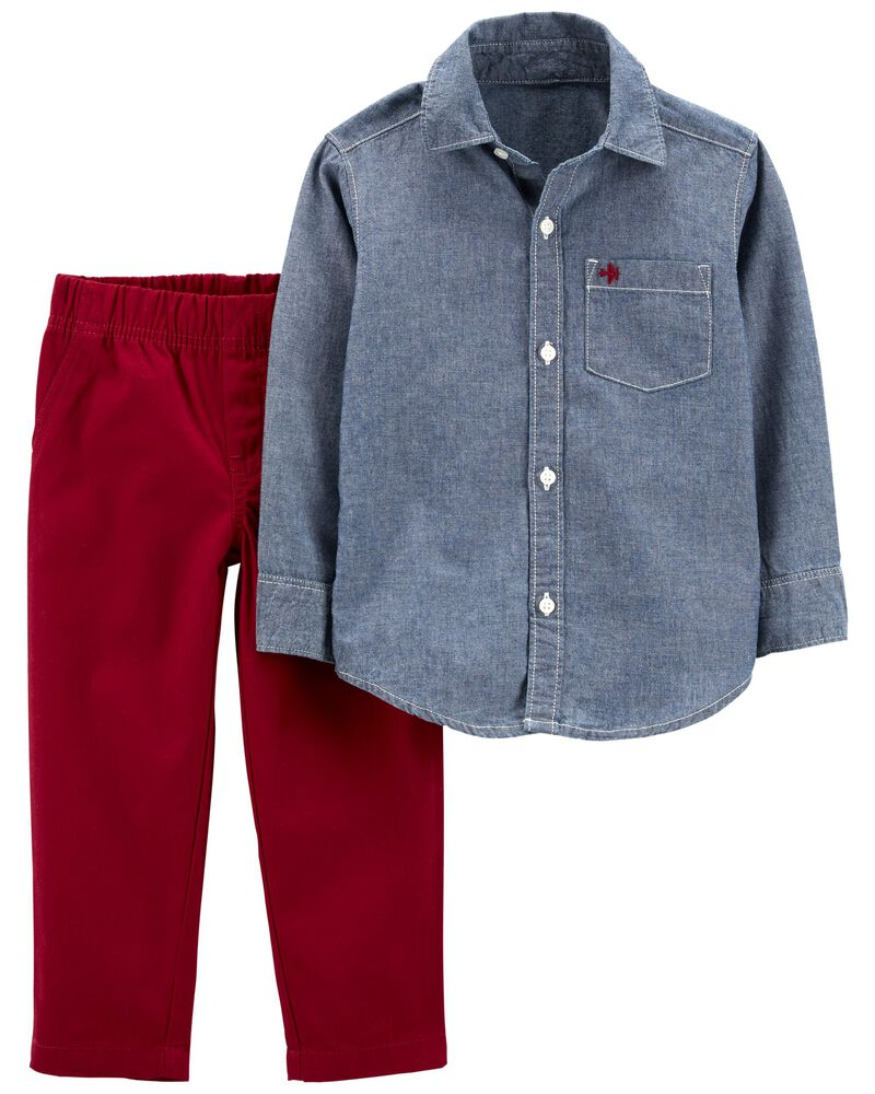 2-Piece Chambray Button-Front Top & Canvas Pant Set, , hi-res