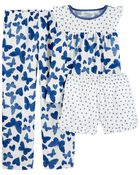 3-Piece Butterfly Loose Fit PJs, , hi-res
