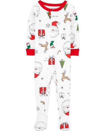 Pyjama 1 pièce à pieds en coton aju...