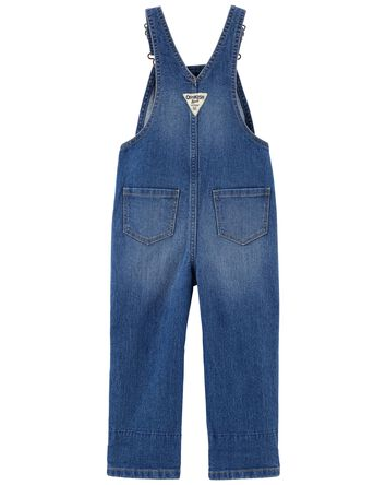 Floral Trim Stretch Denim Overalls