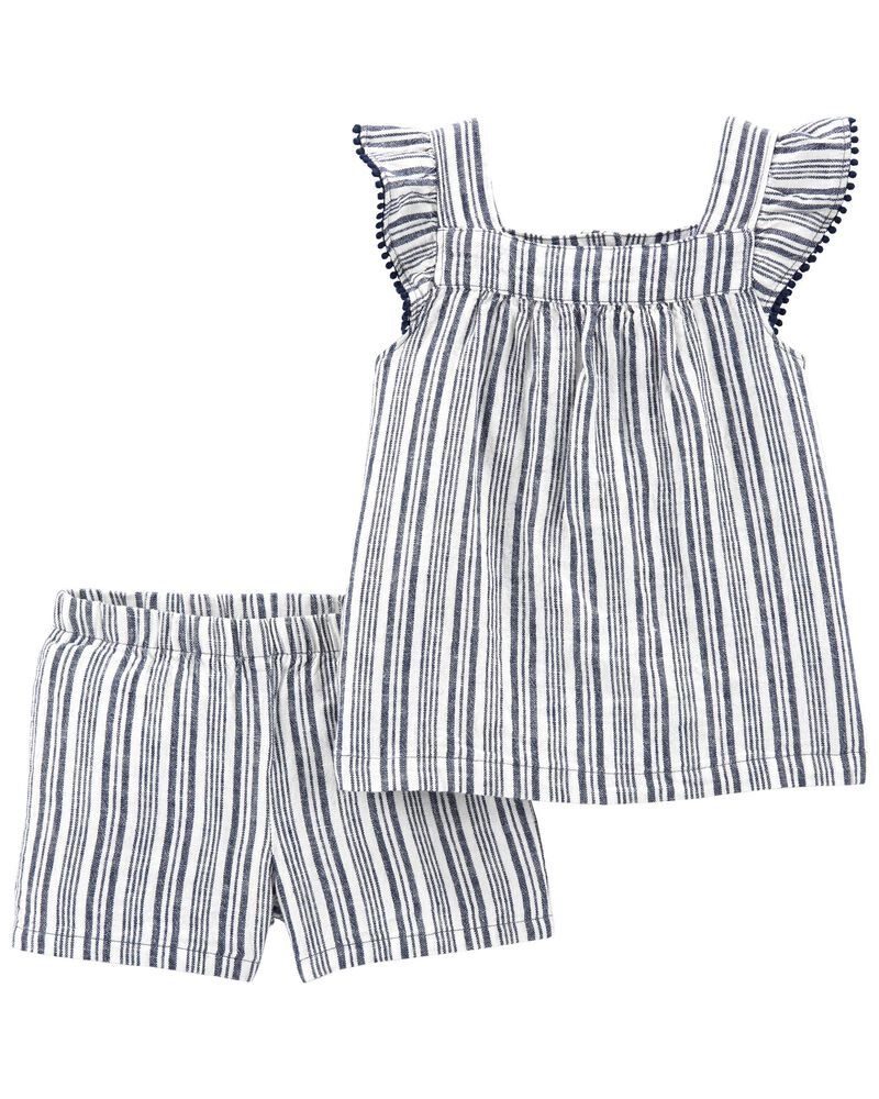2-Piece Striped Tee & Short Set, , hi-res