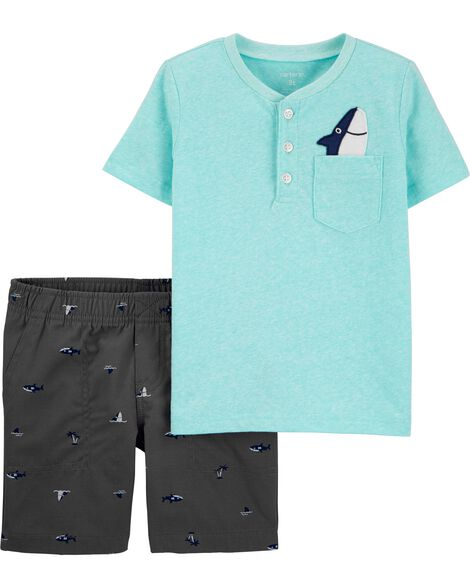 2-Piece Shark Snow Yarn Henley & Short Set
