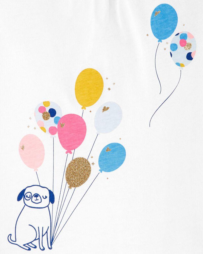 T-shirt en jersey à nœud au dos, ballon et chien, , hi-res