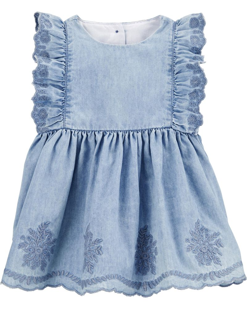 Embroidered Chambray Dress, , hi-res