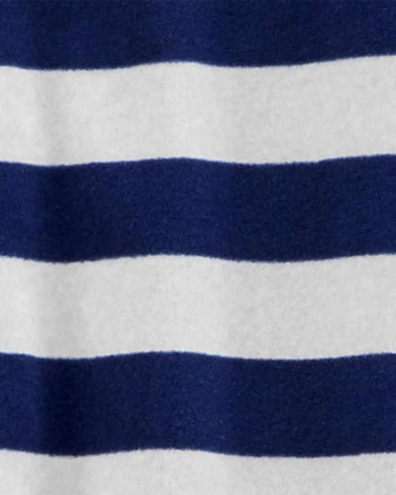 1-Piece Rugby Striped Fleece Footie PJs, , hi-res
