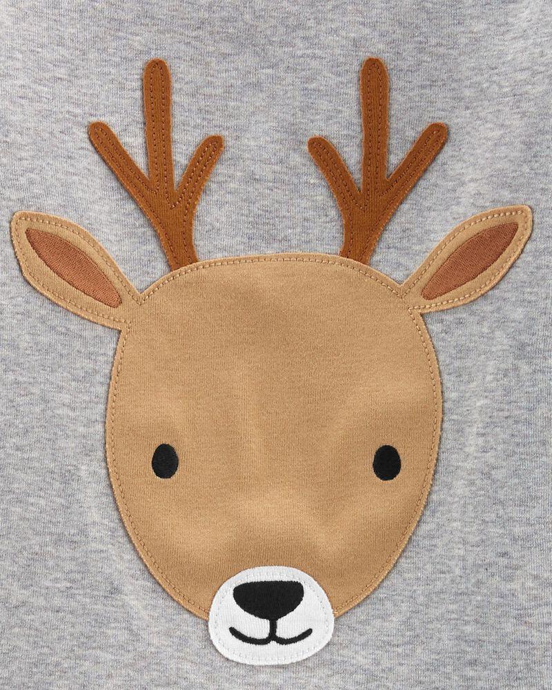 Pyjama 2 pièces en molleton et coton ajusté à renne, , hi-res