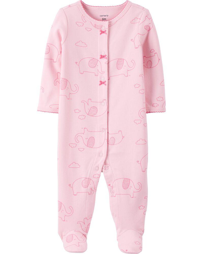 Grenouillère pour dormir et jouer en coton avec boutons-pression et motif éléphant , , hi-res