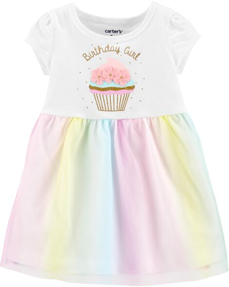 Glitter Birthday Girl Tutu Jersey Dress