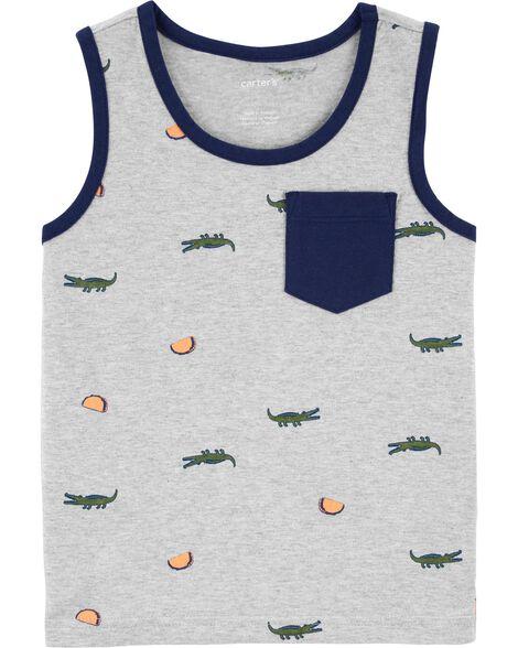 T-shirt en jersey à imprimé d'alligator