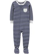 1-Piece Striped Snug Fit Cotton Footie PJs, , hi-res