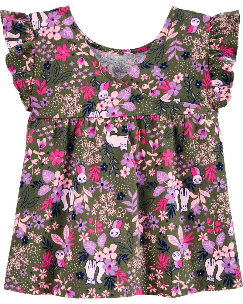 Floral Print Jersey Top, , hi-res