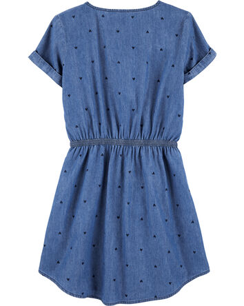 Indigo Heart Print Shirt Dress