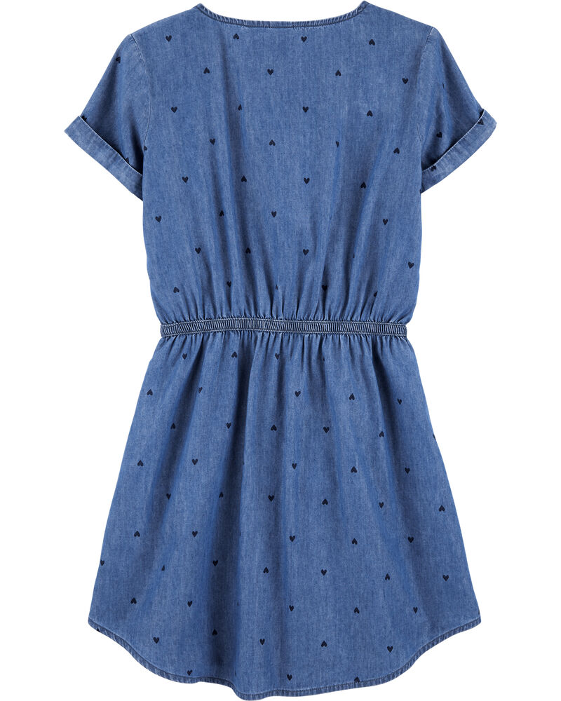Indigo Heart Print Shirt Dress, , hi-res