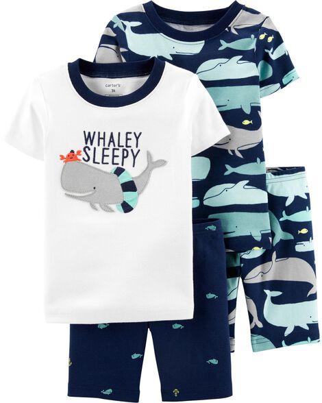 Pyjama 4 pièces en coton ajusté à motif baleine