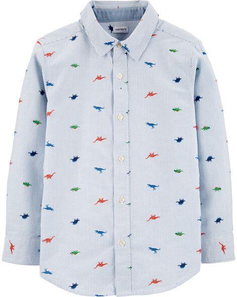 Chemise boutonnée en oxford rayée avec dinosaures