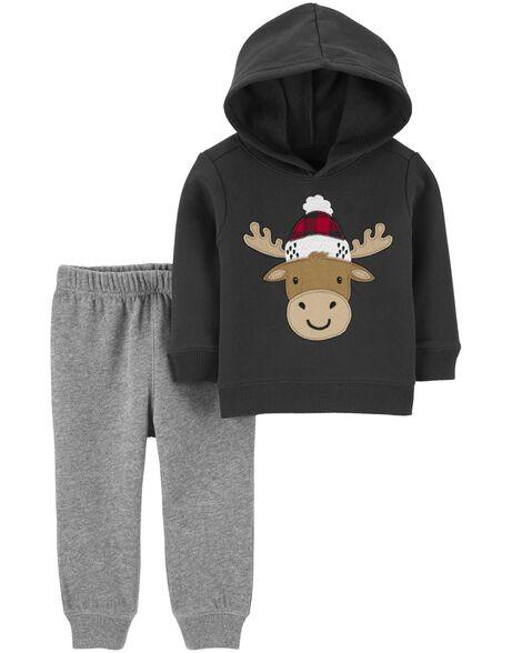 Ensemble 2 pièces kangourou en molleton renne et pantalon de jogging
