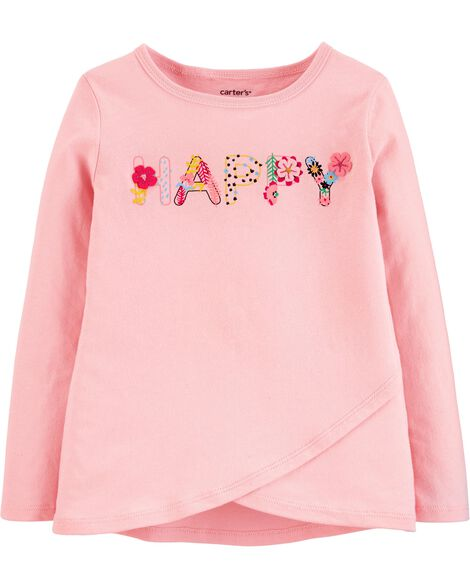 Floral Happy Cross-Front Jersey Tee