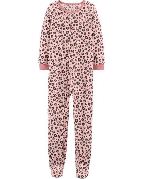 Pyjama 1 pièce en molleton avec pieds et motif léopard