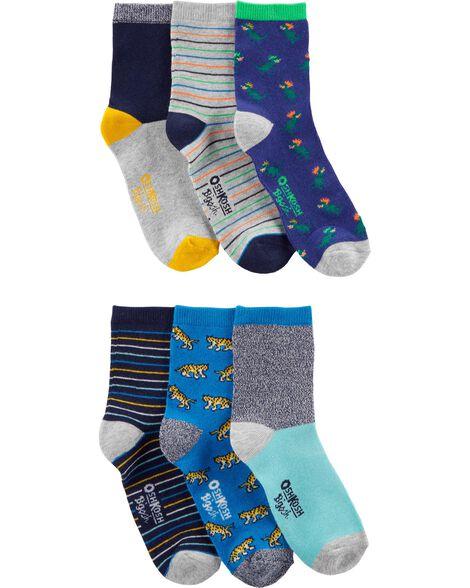 Emballage de 6 paires de chaussettes mi-mollet à imprimé