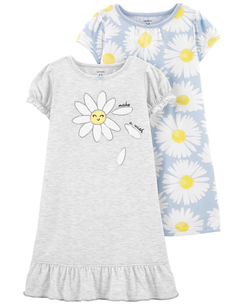 Emballage de 2 robes de nuit à fleurs, , hi-res