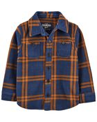 Plaid Fleece Shirt Jacket, , hi-res