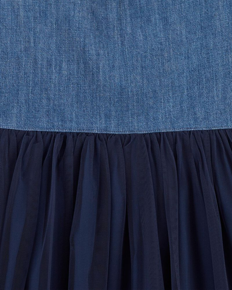 Robe en denim et en tulle, , hi-res