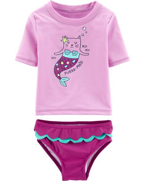 2-Piece Kitty Mermaid UV Swim Shirt Set