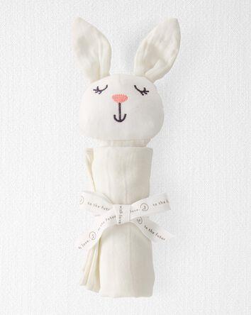 Doudou lapin en mousseline de coton...