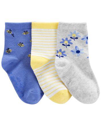 3-Pack Floral Crew Socks