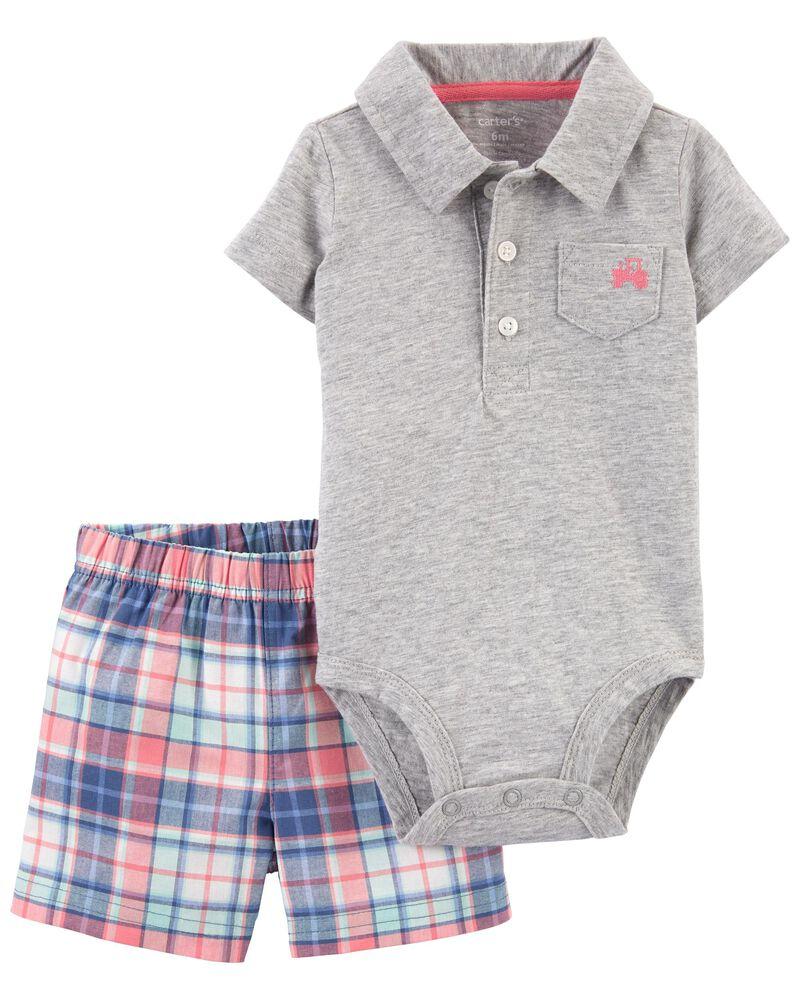 2-Piece Polo Bodysuit & Short Set, , hi-res