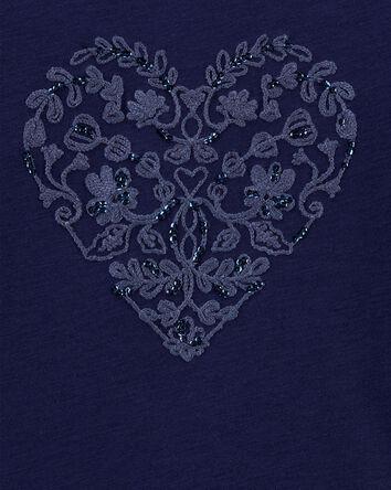 Tie-Hem Sparkle Heart Top