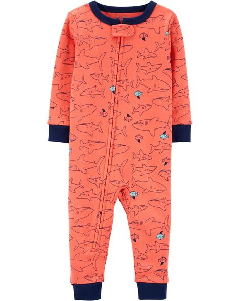 1-Piece Snug Fit Shark Cotton Footless PJs