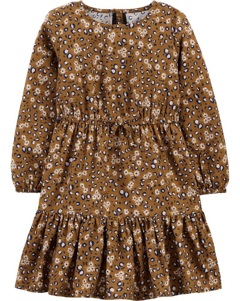 Robe volantée à imprimé de léopard et de fleurs, , hi-res